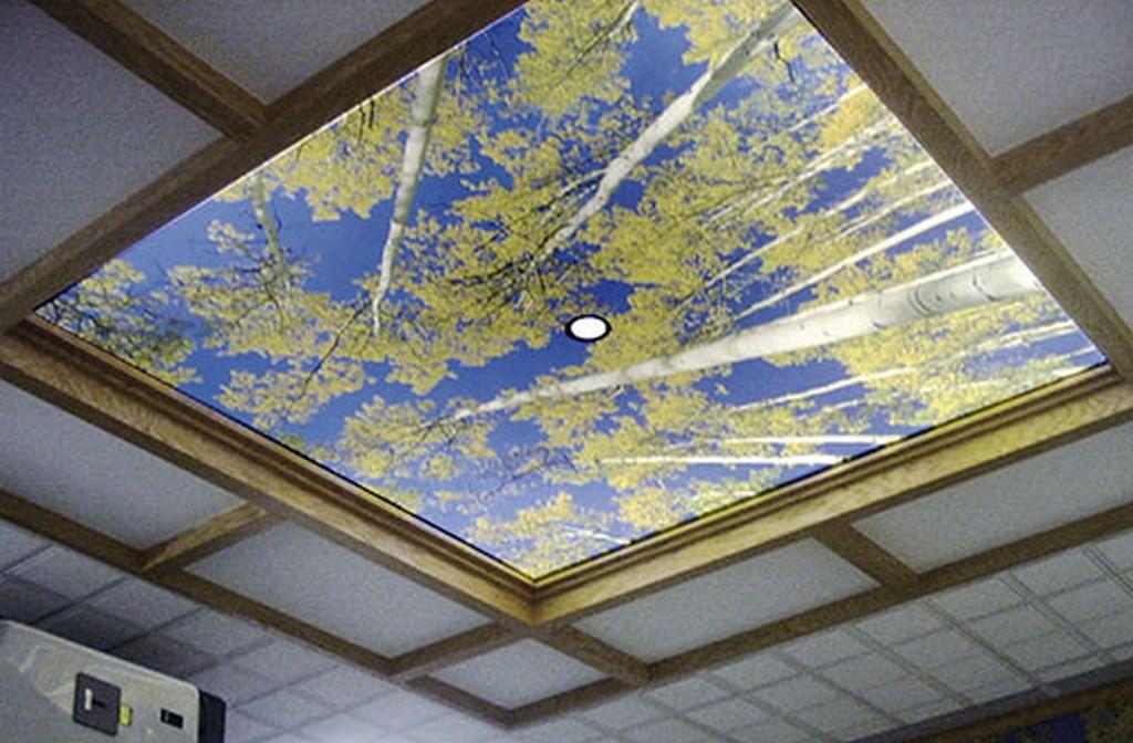 Натяжной потолок из ткани в коттедж