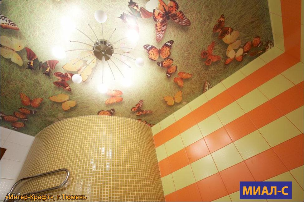 Тканевый натяжной потолок в ванную