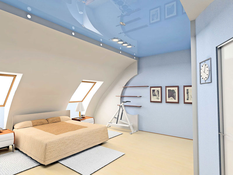 Потолок в мансарде фото отделка