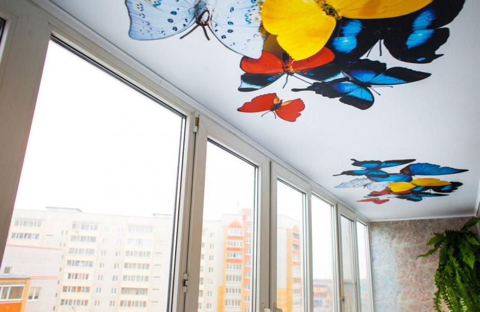 Тканевые натяжные потолки для балкона
